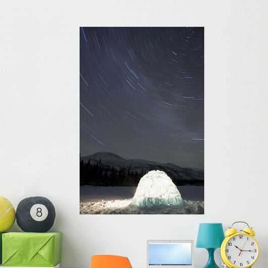 Igloo And Star Trails, Kusawa Lake, Yukon Wall Mural