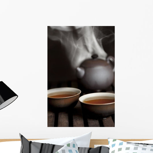 Tea In Cups With A Steaming Pot In The Background Wall Mural