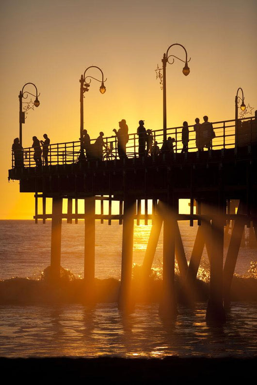 Santa Monica Pier At Sunset, Los Angeles, California Wall Mural