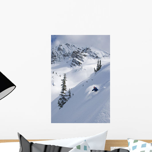 Skier Hitting Powder Below Nak Peak Wall Mural
