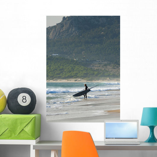 Windsurfer Standing On The Beach Wall Mural