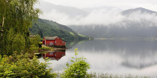 A Red House Along Granvinsvatnet With Low Lying Cloud Wall Mural