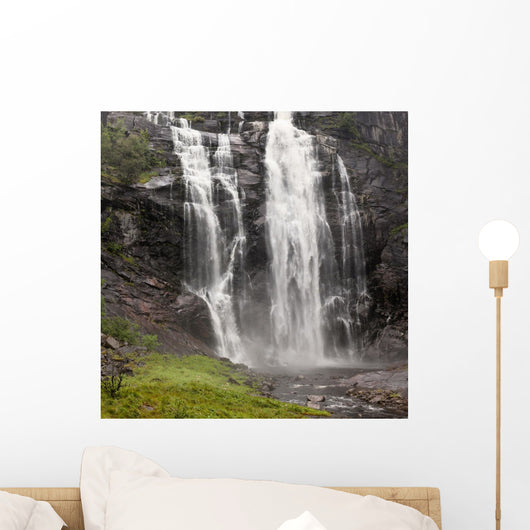 Waterfalls Over A Cliff Wall Mural