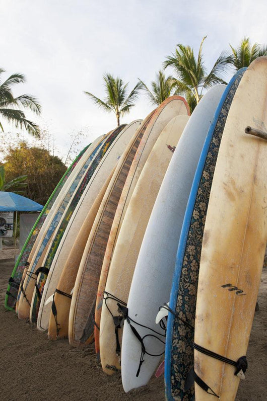 Surfboards Standing Up Against A Rack On The Beach Wall Mural