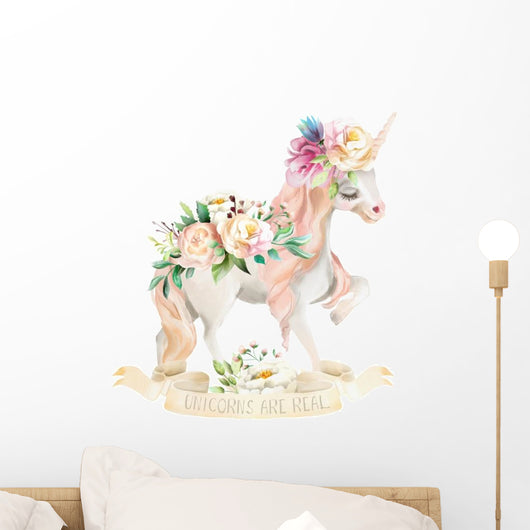 Unicorns Are Real Floral Wall Decal