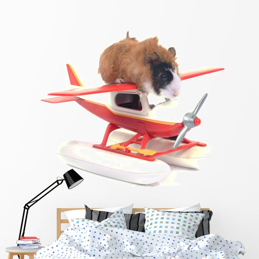 Plane-Ridding Guinea Pig Wall Decal