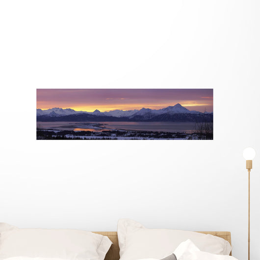 Panorama Of Homer & Homer Spit At Sunrise Wall Mural