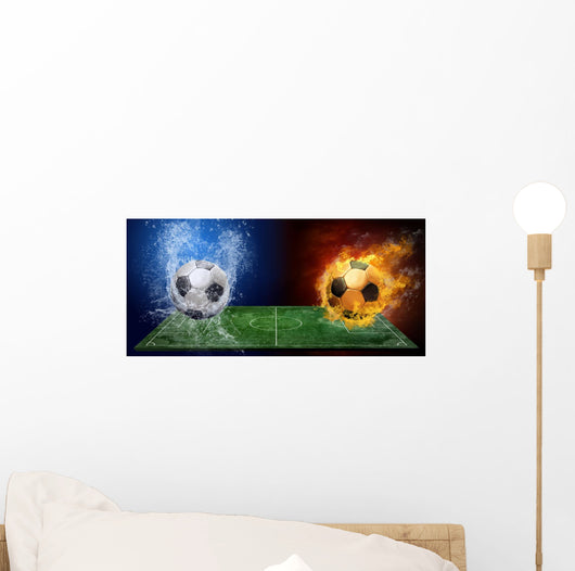 Water Drops and Fire Flames Soccer Ball Wall Mural