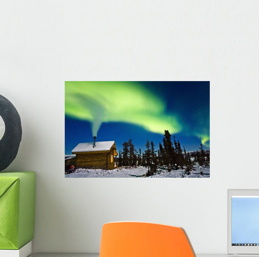 Aurora Over Cabin Wall Mural