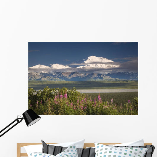 MtMckinley And The Alaska Range With Fireweed Flowers Wall Mural
