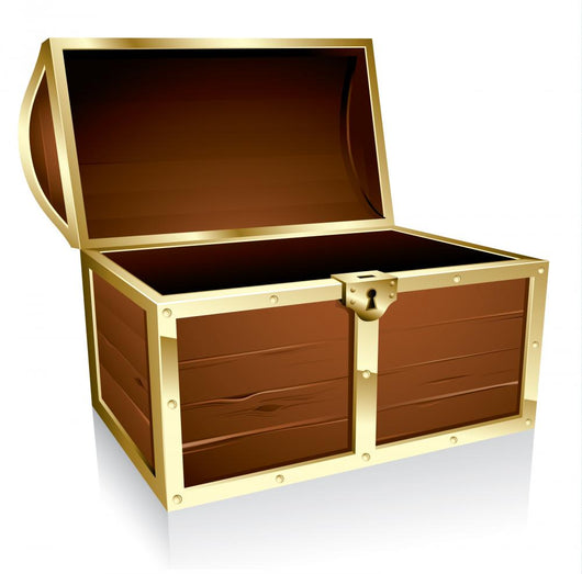 Illustration of a wooden treasure chest with nothing in it Wall Decal