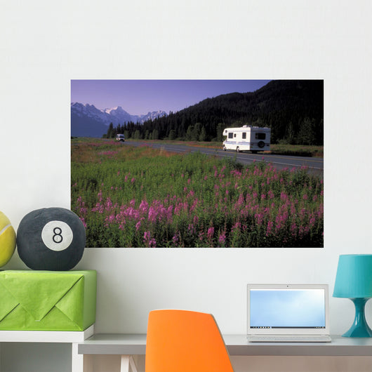 Autombiles On Seward Highway In Kenai Mtns Kp Ak Summer Wall Mural