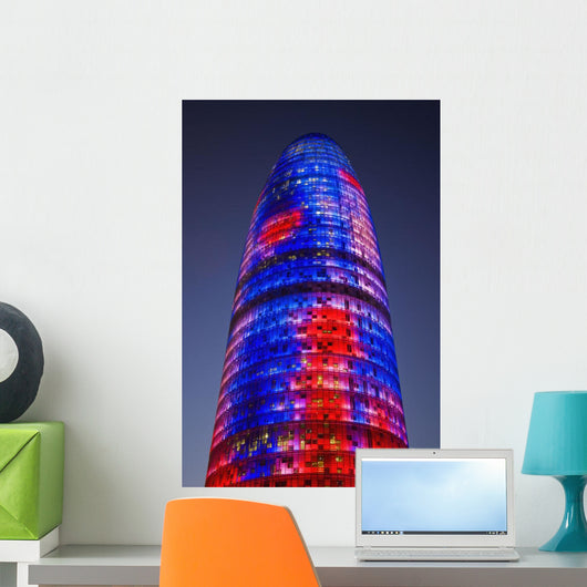 Spain, Colorful elevation of Agbar Tower Wall Mural
