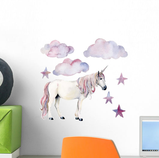Clouds Stars and Unicorn Wall Decal Sticker Set