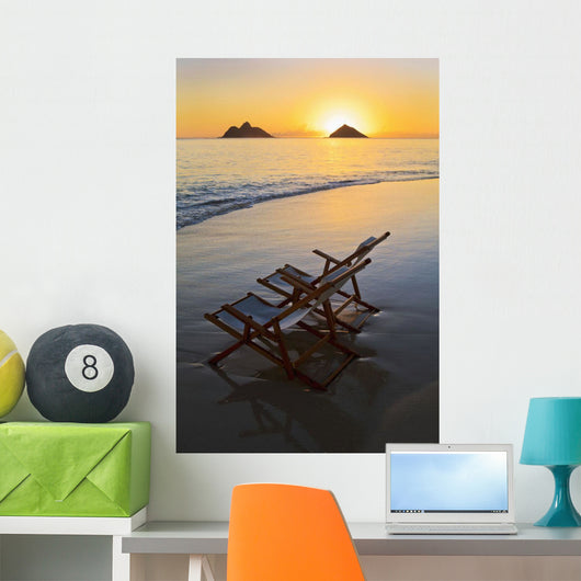 Hawaii, Lanikai, Empty beach chair at sunset Wall Mural
