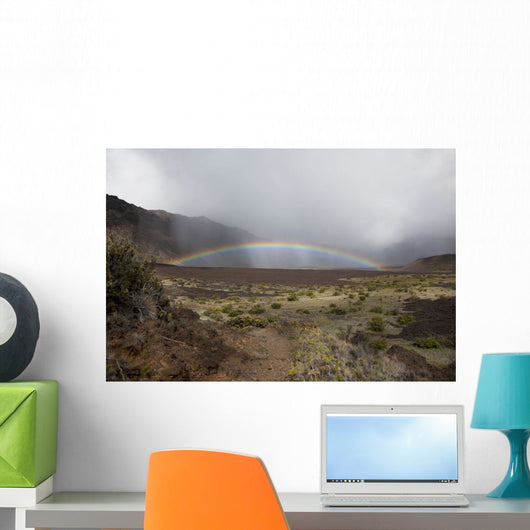 Hawaii, Maui, Haleakala, Crater, A bright, colorful rainbow Wall Mural