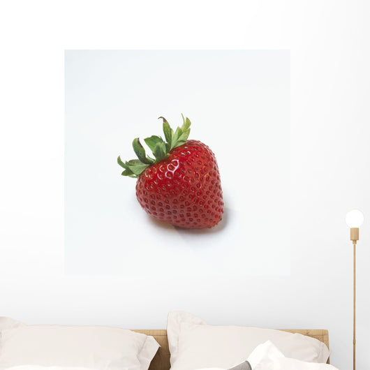 Fresh Ripe Strawberry Against White Background Wall Mural