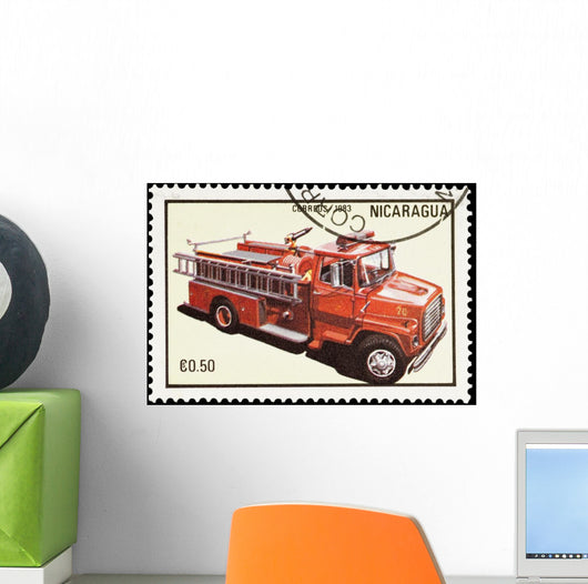 Nicaraguan mail stamp featuring a fire truck Wall Mural