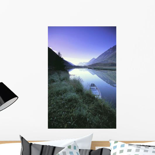 Canoe Sits At Lake Side Kenai Mtns Sunrise Wall Mural