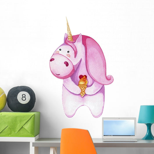 Chubby Pink Icecreme Unicorn Wall Decal