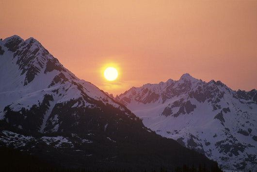 Sunrise Over Snowcapped Chugach Mtns Sc Ak Summer Copper River Delta Wall Mural