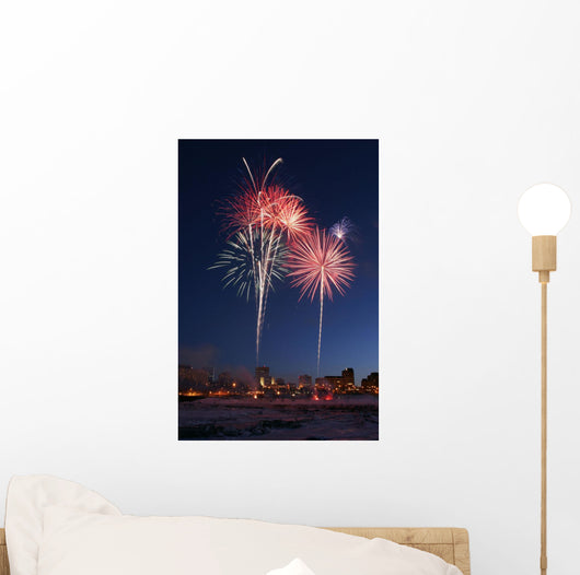 Fur Rondy Fireworks Over Anchorage, Southcentral, Alaska, Winter Wall Mural