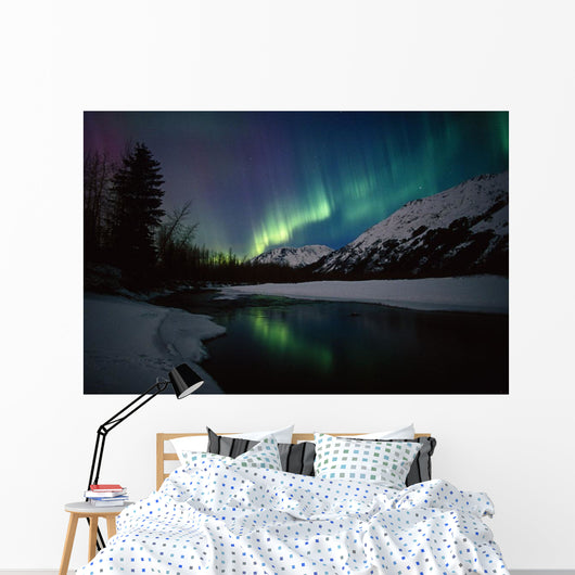 Northern Lights Over Portage River Valley Sc Alaska Wall Mural