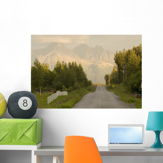 Rural Road Leading To View Of Chugach Mountains Wall Mural