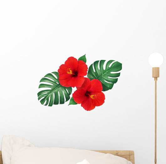 Red Tropical Hibiscus Flowers Wall Decal Wallmonkeyscom