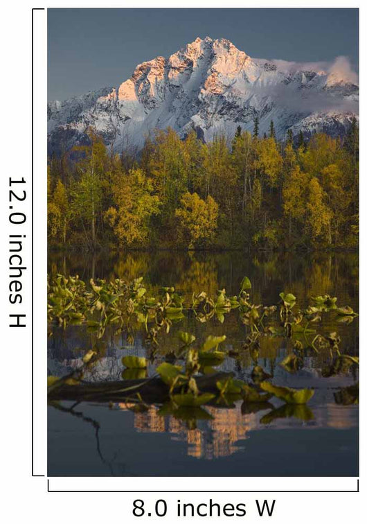 Scenic View Of Pioneer Peak Reflecting In Echo Lake At Sunset Wall Mural