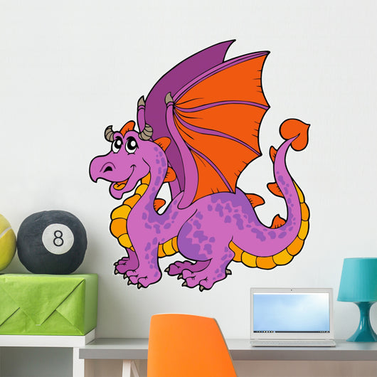 Purple Cartoon Dragon Wall Decal