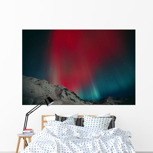 Red Aurora Over Talkeetna Mountains At Hatcher Pass In Southcentral Wall Mural