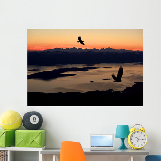 Silhouette Of Bald Eagles Wall Mural
