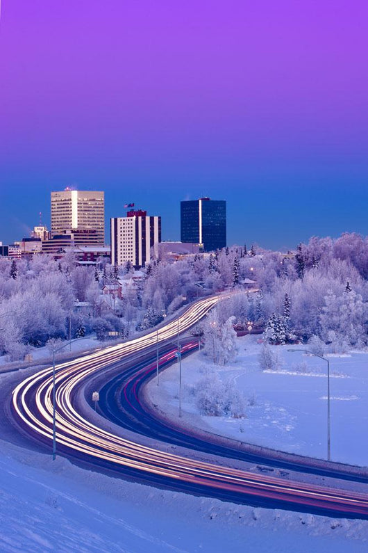 Alpenglow Over The Anchorage Skyline With The Lights From Traffic Wall Mural