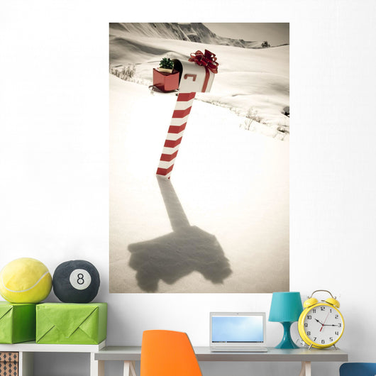 White Mailbox Decorated For Christmas Standing Wall Mural