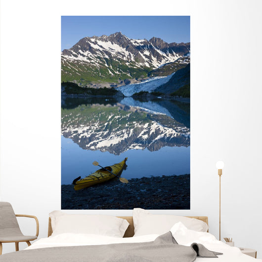 Kayak On The Beach In Shoup Bay With Shoup Glacier Reflected Wall Mural