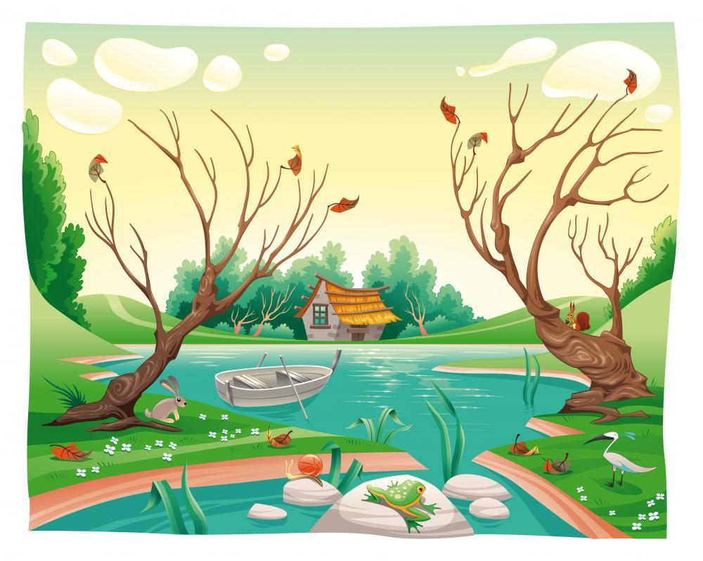 Pond and animals. Funny cartoon and vector illustration Wall Mural