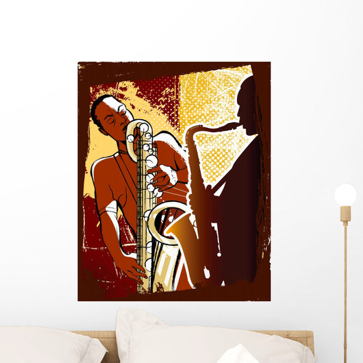 Saxophonists on a Grunge Background Wall Mural