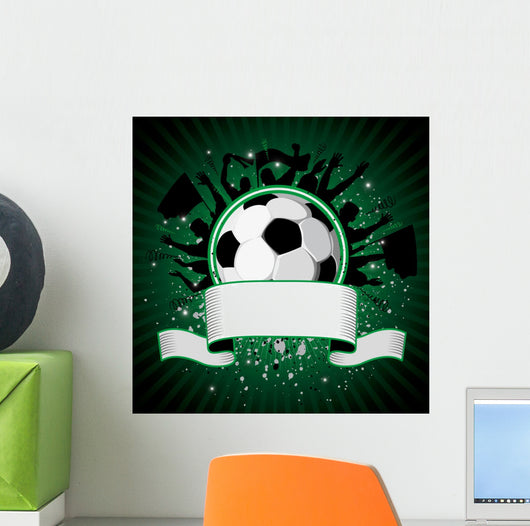 Soccer Ball on Grunge Background Wall Mural