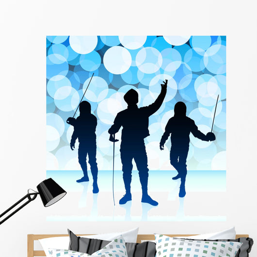 Fencer Blue Lens Flare Wall Mural