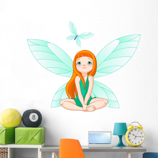 Fairy observes for flying butterfly Wall Decal