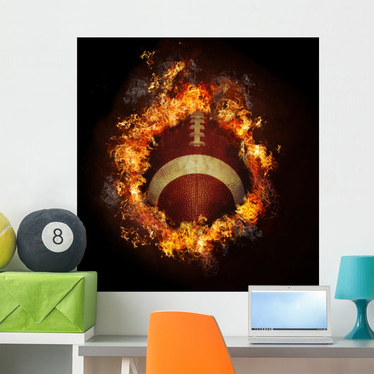 Football in Hot Fire Flames Wall Mural