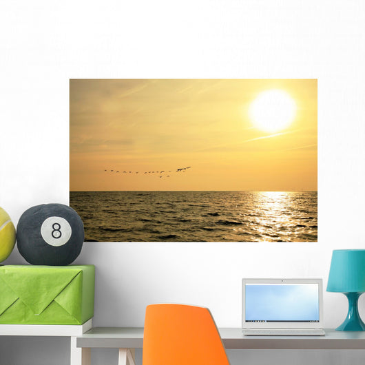 Sunrise and Flock Birds Wall Mural