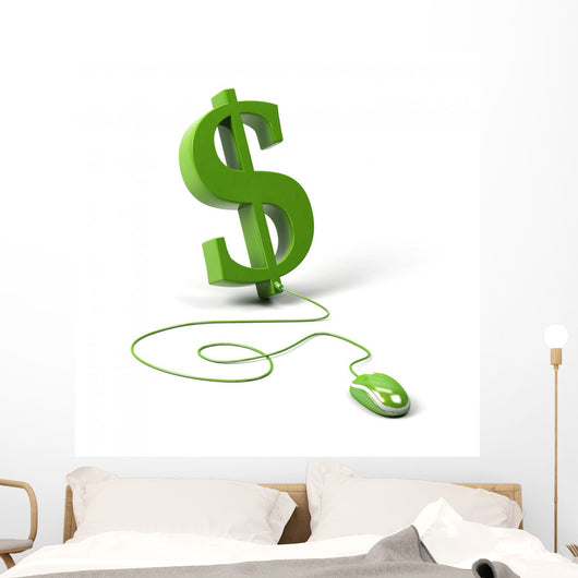 Dollar Symbol Connected to Wall Decal