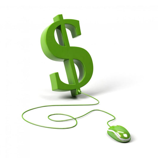 Dollar symbol connected to a computer mouse. 3d image. Wall Decal