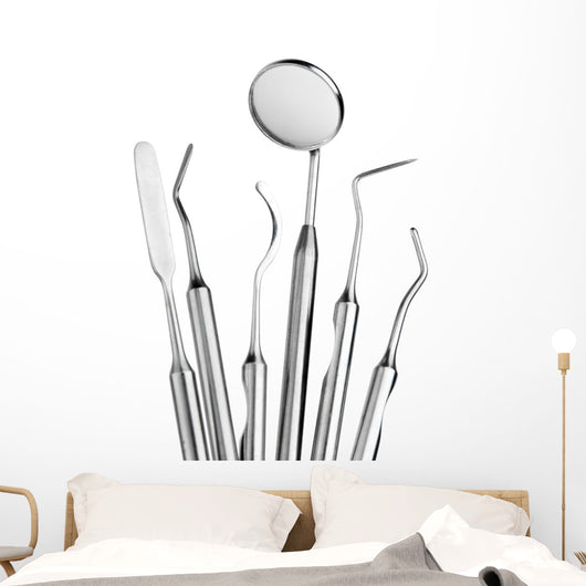 Set of Dental Care Instruments Wall Decal