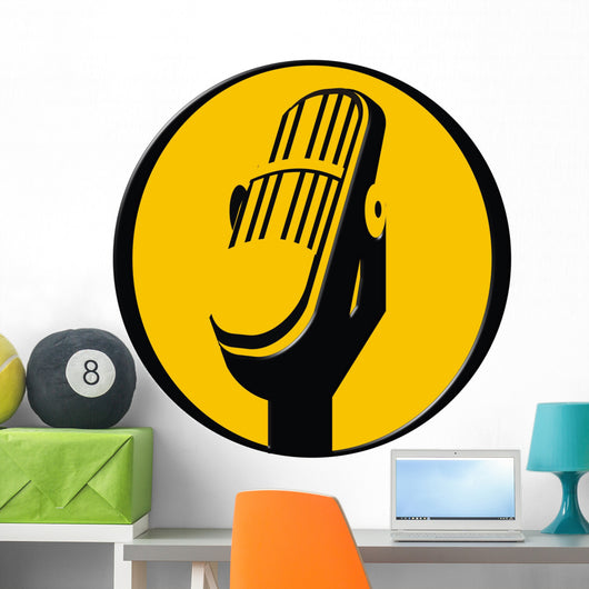 vintage microphone icon Wall Decal