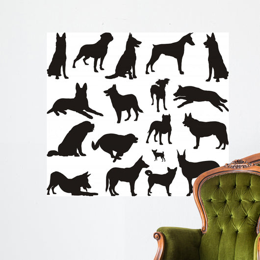 Dog Silhouette Vector Wall Stickers