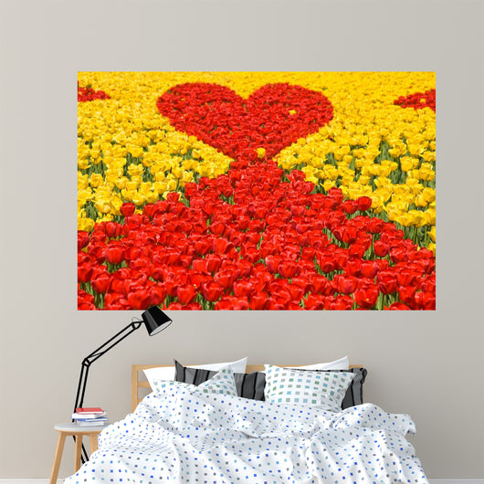 Loving red-yellow tulips Wall Mural