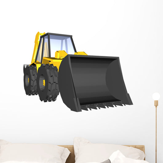 Yellow Construction Digger Wall Decal